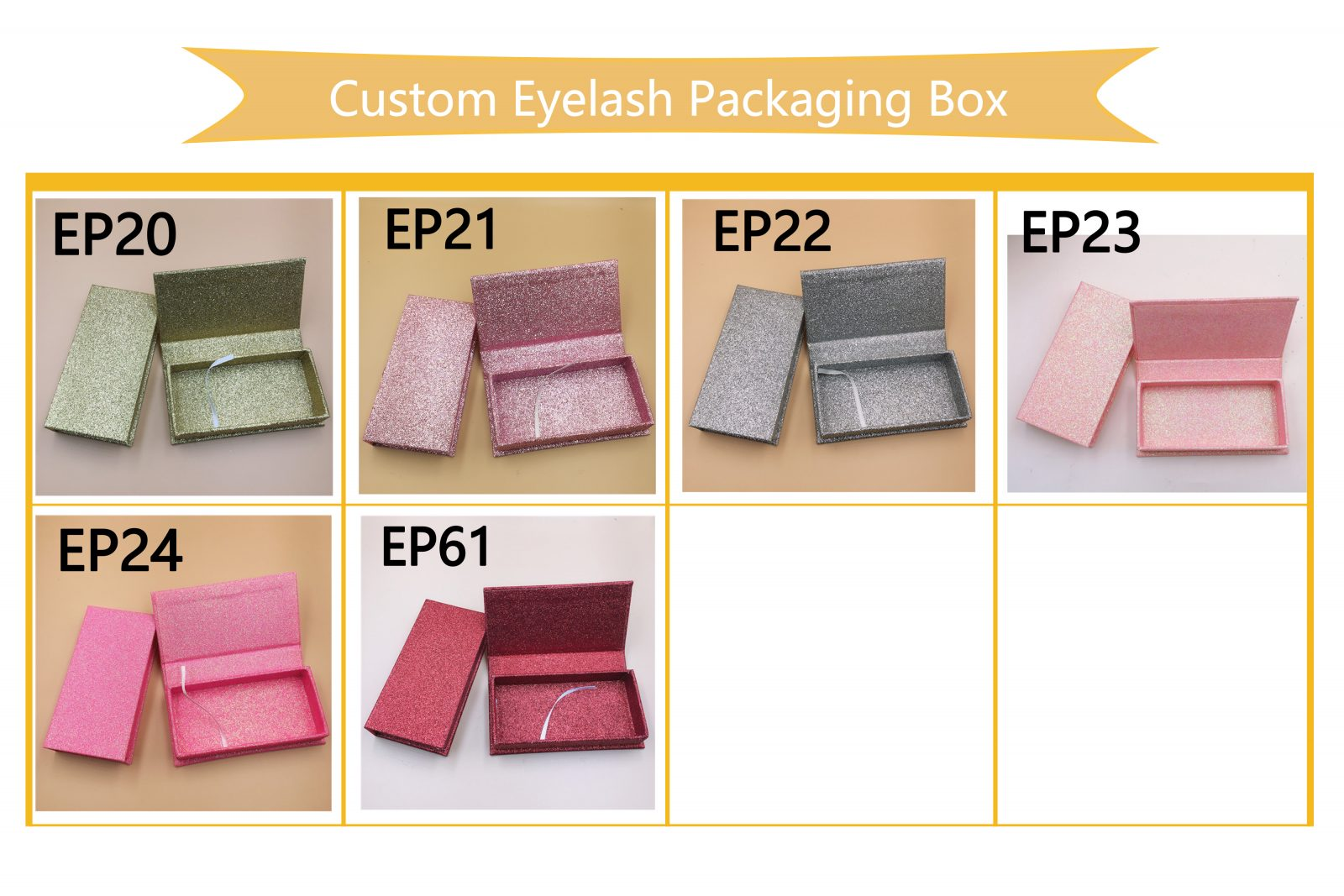 Glitter eyelash custom packaging