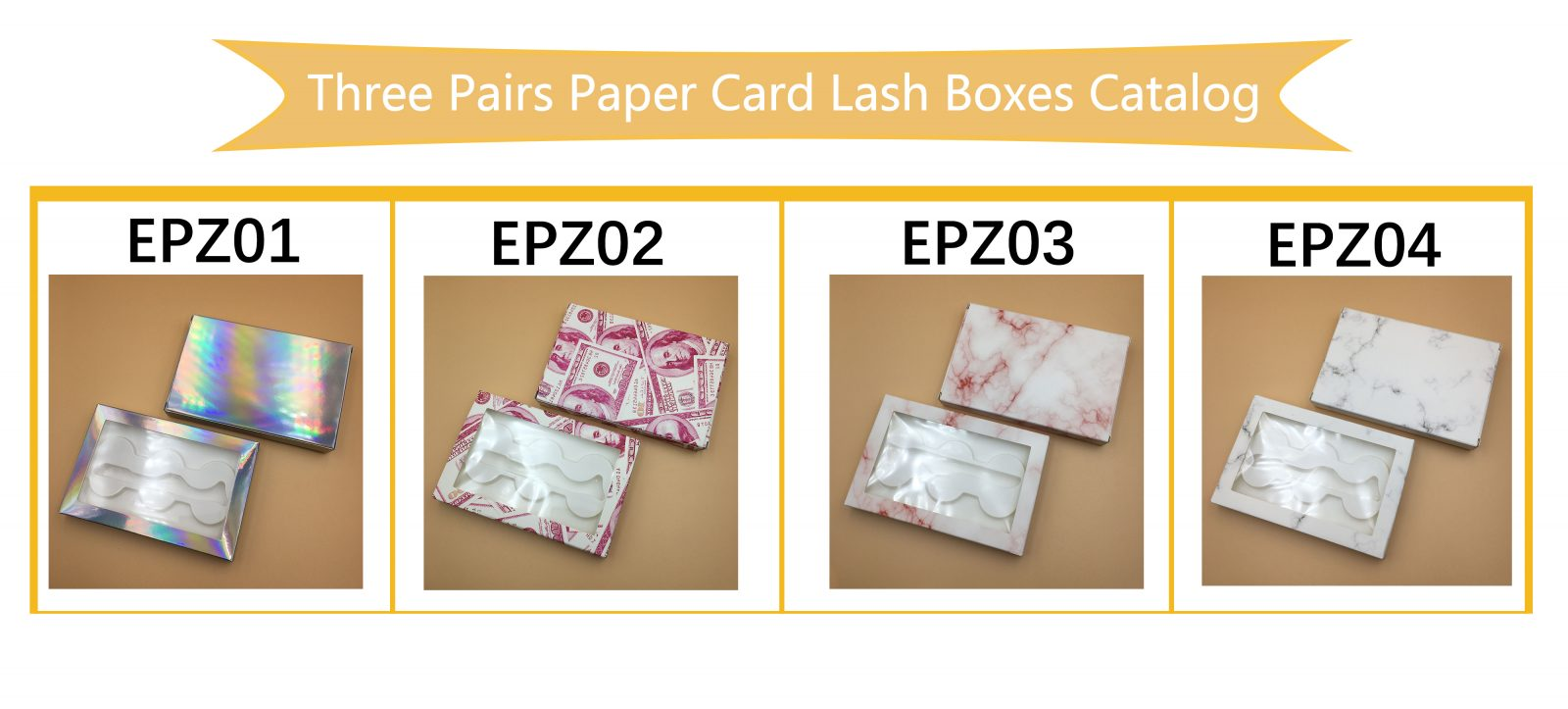 Three Pairs Paper Card custom eyelash box