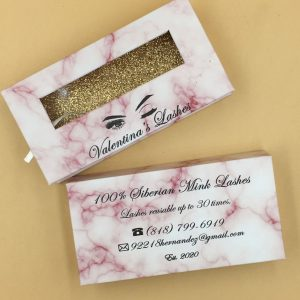 Private Pink Marble Window Label Custom Eyelash Packaging